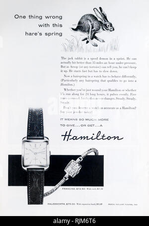A 1955 magazine advertisement for Hamilton watches, made by the Hamilton Watch Company. - Stock Image