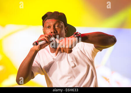Southsea, UK. 23rd Aug, 2014. Victorious Festival: Dizzee Rascal performs as the headline act on the Castle Stage. - Stock Image