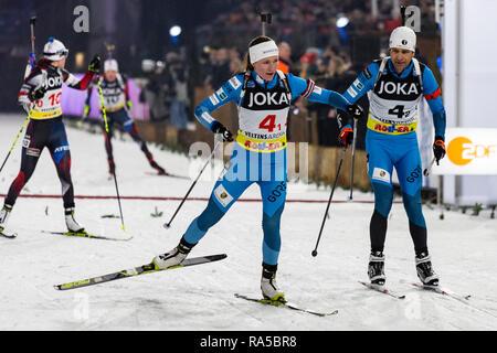 L-R: Darja Domratschewa (BLR), Ole Einar Björndalen (NOR). JOKA Biathlon World Team Challenge 2018 auf Schalke. - Stock Image