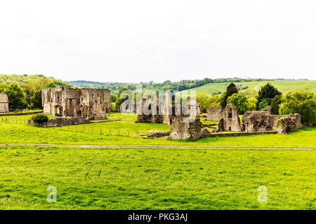 St Agatha's Abbey Easby Richmond Yorkshire UK, St Agatha's Abbey, Easby, ruins, ruin, remains, Easby Abbey, monastery, derelict buildings UK, UK, - Stock Image