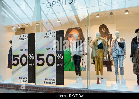 Black Friday signs on Topshop shop window. - Stock Image