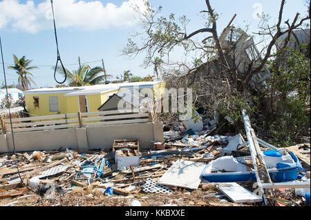 Debris and damaged homes in the aftermath of Hurricane Irma September 17, 2017 in Marathon, Florida.  (photo by - Stock Image