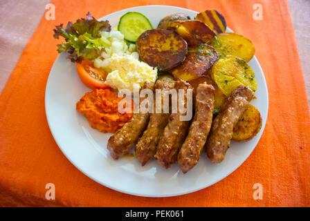 Cevapcici, Cevapi, Serbian restaurant Singidunum, Nove mesto, Prague, Czech Republic - Stock Image