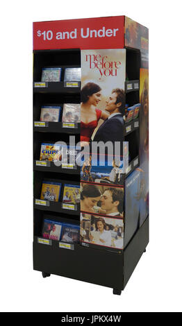 Me Before You and other movies (DVDs) being sold at a point-of-purchase display near the check out register at a Target store - Stock Image