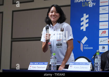 Elite Yuko Takahashi: May 16, 2019, Yokohama, Japan: Press Conference for the 2019 ITU World Triathlon and Paratriathlon Yokohama at the Monterey Hotel in Yokohama, Japan. The race will be held on May 18-19 2019 near Yamashita Park in Yokohama. Credit: Michael Steinebach/AFLO/Alamy Live News - Stock Image