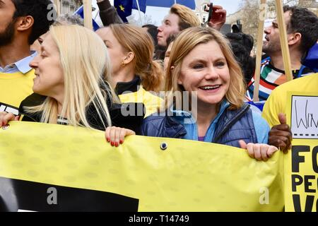 London, UK. 23rd March, 2019. Justine Greening Conservative MP for Putney, People's Vote March, Whitehall, London.UK Credit: michael melia/Alamy Live News - Stock Image