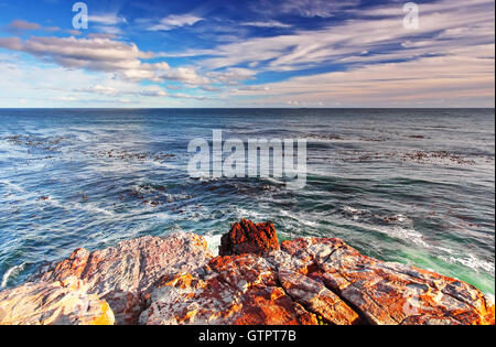 Rocky landscape on the Atlantic coast of the Cape Peninsula, the most south-western point of the African Continent, - Stock Image
