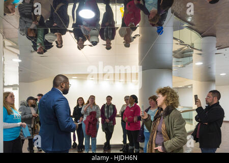 Melville, New York, USA. 24th January 2017. Members of Together We Will Long Island speak with GARRETT ARMWOOD, - Stock Image