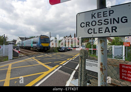 dangerous level crossing in the Suffolk town of Woodbridge - Stock Image