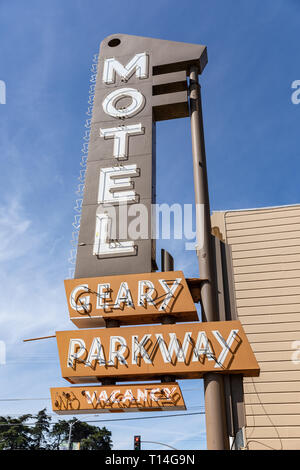 Geary Parkway Motel, neon sign, Geary Boulevard, San Francisco, California, USA - Stock Image