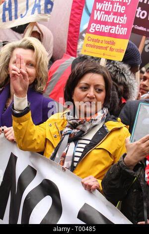 London, UK - 16 March 2019:  Rokhsana Fiaz, the  Mayor of Newham joined  thousands of people took part in the UN Anti-Racism Day demonstration that took place in central London on 16 March. The demonstration which began in Park Lank and ended outside Downing Street was organised by Stand Up to Racism and Love Music Hate Racism and supported by the TUC and UNISON. Photo: David Mbiyu Credit: david mbiyu/Alamy Live News - Stock Image