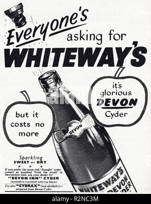 Original 1950s vintage old print advertisement from English magazine advertising Whiteway's Devon Cyder circa 1954 - Stock Image