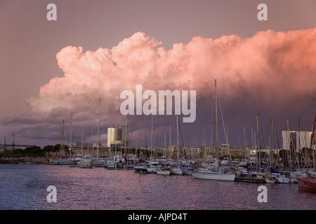 Barcelona Port Vell sunset - Stock Image