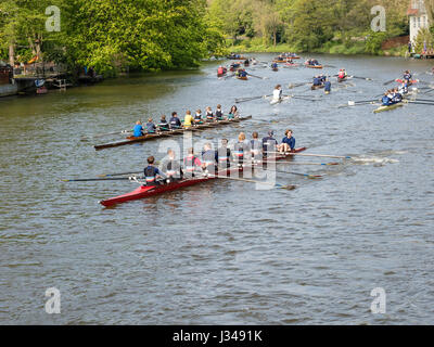 Rowing clubs celebrate the start of the rowing season, all kinds of boats  active, from one-man to eight-man scull, - Stock Image