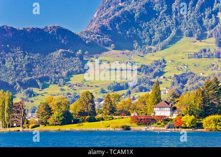 Luzern lake and Swiss Alps landscape view, central Switzerland - Stock Image