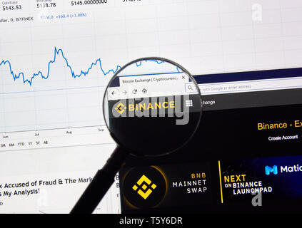 MONTREAL, CANADA - APRIL 26, 2019: Binance cryptocurrency digital assets exchange logo and home page on a laptop screen under magnifying glass. - Stock Image