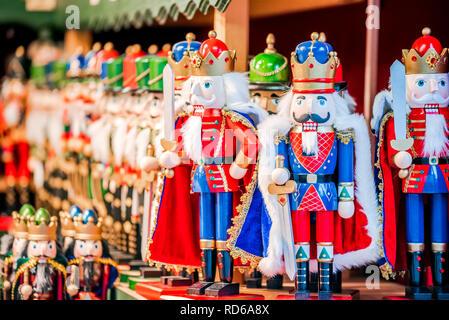 Salzburg, Salzburger Christkindlmarkt nutcracker dolls, Christmas Market in Austria old city. - Stock Image