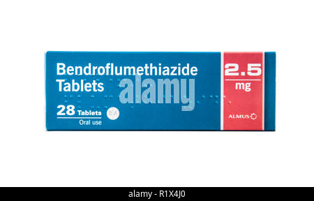 Stock photo of a box of Bendroflumethiazide thiazide diuretics (water tablets) 28 x 2.5mg by Almus. - Stock Image