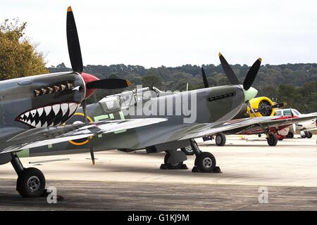 Supermarine Spitfire Mk.VIII with shark face painted on the front and Supermarine Spitfire Mk.XVI in the background, - Stock Image