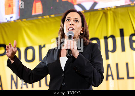 Washington, United States. 17th June, 2019. U.S. Senator Kamala Harris (D-CA) speaking at the Poor People's Moral Action Congress taking place at Trinity Washington University in Washington, DC. Credit: SOPA Images Limited/Alamy Live News - Stock Image