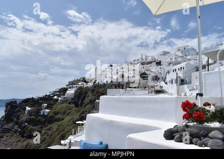 Santorini - View of Imerovigli from the terrace of a luxury hotel on the Caldera. - Stock Image