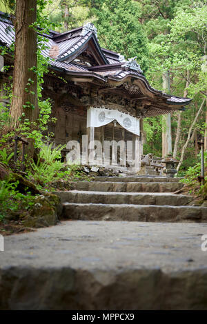 Facade of Towada Shinto shrine framed between trees and stone stairway. Aomori prefecture, North Honshu, Japan. - Stock Image