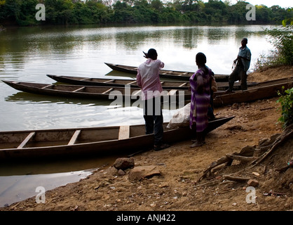 Black Volta River ferry crossing The international border between Ghana and Burkina Faso - Stock Image