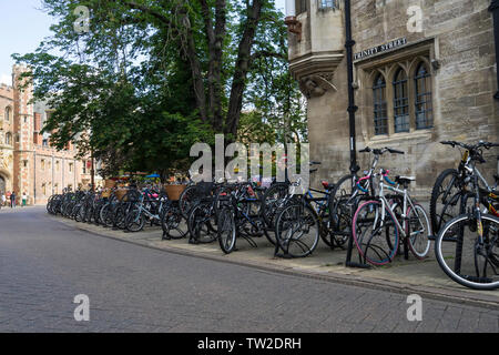 Bicycles parked along Trinity street and St Johns street Cambridge 2019 - Stock Image