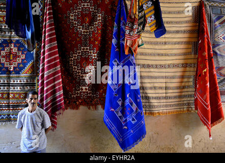 Carpet and rug shop in the medina, Fez, Morocco, North Africa. - Stock Image