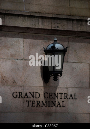 Lantern on the wall outside Grand Central Terminal - Stock Image