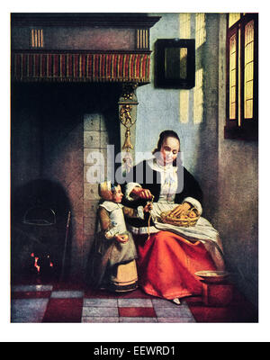 Woman Peeling Apples Pieter De Hooch 1629 - 1684 Dutch Golden Age painter Wallace Collection domestic scene fireplace - Stock Image