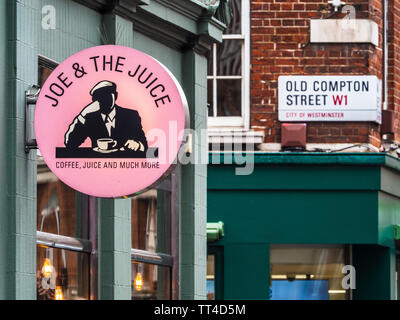 Joe and the Juice Cafe Restaurant Sign  in Old Compton Street, Soho, London, UK. Joe and the Juice is a chain originally set up in Denmark. - Stock Image