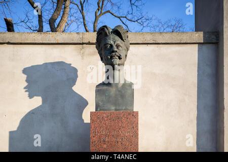 Georg Brandes (1842-1927), bronze bust by Max Klinger (1857-1920), erected 1993; Georg Brandes Plads, Copenhagen, Denmark - Stock Image