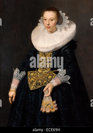 Portrait of a Young Woman; Nicolaes Eliasz. Pickenoy, Dutch, 1590/1591 - 1654/1656; 1632; Oil on panel; Unframed: - Stock Image