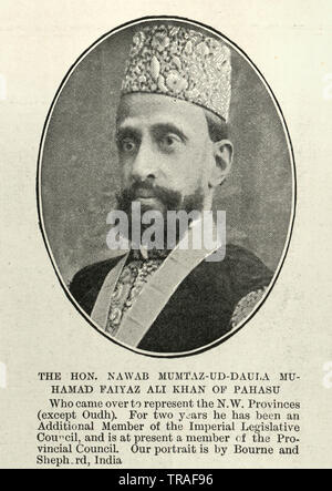 Vintage photograph of Nawab Mumtaz-ud-Dowlah Sir Muhammad Faiyaz Ali Khan of Pahasu, a Nawab of Pahasu, a member of the Governor General's Council of the United Provinces of Agra and Oudh and Member of the Legislative council of the United Provinces., 1902 - Stock Image