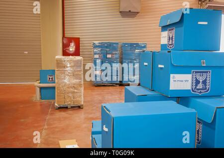 SHOAM, ISRAEL. February 24, 2015. Blue ballot boxes for the IDF inside the Central Elections Committee office prior to the parliamentary elections. - Stock Image