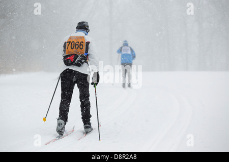 Competitors ski in the Mora Vasaloppet during a snowstorm on February 10, 2013 near Mora, Minnesota. - Stock Image