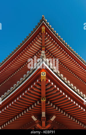 The architectural symmetry of the roof of a Japanese temple - Stock Image