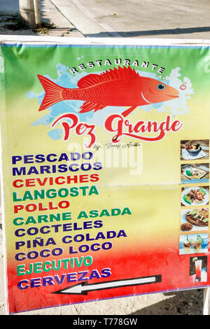 Cartagena Colombia El Laguito Restaurante Pez Grande restaurant seafood Spanish language typical food fish ceviches ceviche sign - Stock Image