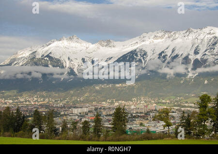 Innsbruck, the capital city of Tyrol  and the fifth-largest city in Austria. It is in the Inn valley, at its junction with the Wip valley - Stock Image