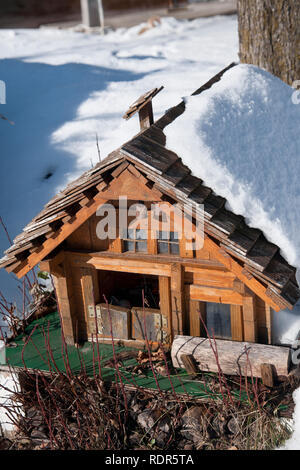 Detail of swiss house scale model. - Stock Image