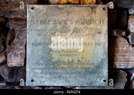 Engraved stone plaque commemorating the date on which the cornerstone of Saint Anns Episcopal Church was laid in Kennebunkport, Maine, USA. - Stock Image