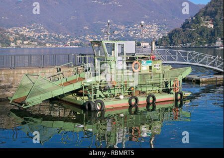 garbage cleaner boat, Lake Como, Como, Italy - Stock Image