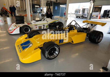 Historic Formula 2 Race Car previously driven by Reine Wisell, in the International Pit Garage, during the 2019 Silverstone Classic Media/Test Day - Stock Image