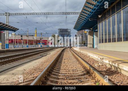 train station station rails and traffic lights for train departure Ukraine, Kiev 20.10.2018 - Stock Image