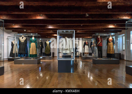 Traditional clothes display, Ethnographic Museum, Split, Croatia - Stock Image