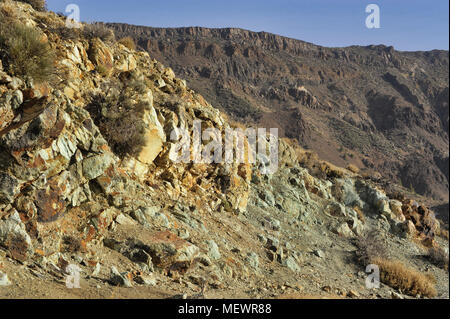 Famous blue formations Los Azulejos, as result of volcanic eruption, Tenerife, Canary Islands - Stock Image