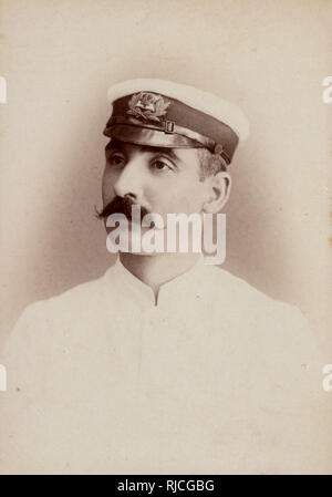 Cabinet photograph - Royal Navy Officer stationed in India. - Stock Image