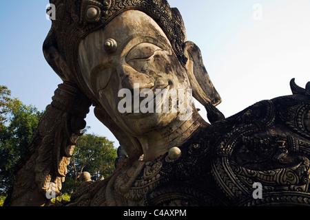 Thailand, Nong Khai, Nong Khai. Hindu-Buddhist sculpture in the Sala Kaew Ku Sculpture Park. - Stock Image