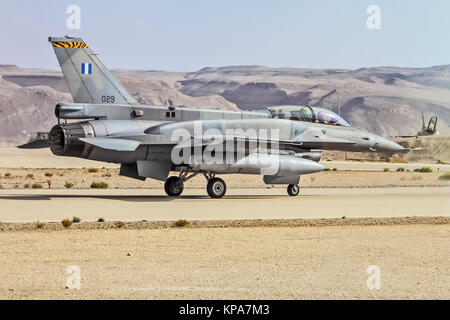 """Greek Air Force General Dynamics F-16D Block 52+ Ready for take off. Photographed at the  """"Blue-Flag"""" 2017, an international - Stock Image"""
